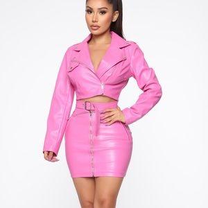 Josie PU Moto Skirt Set in Pink
